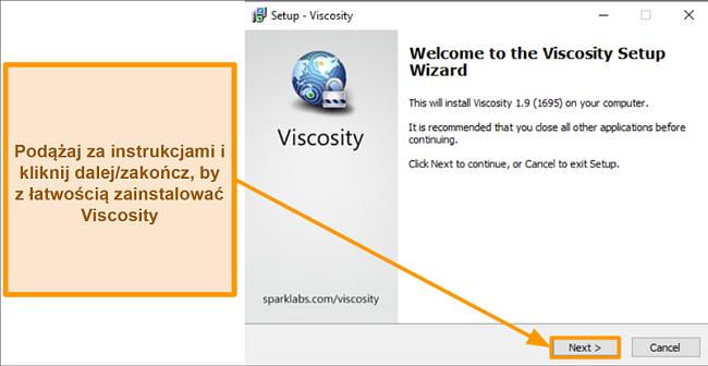 Zrzut ekranu kreatora konfiguracji Viscosity, aby zainstalować aplikację