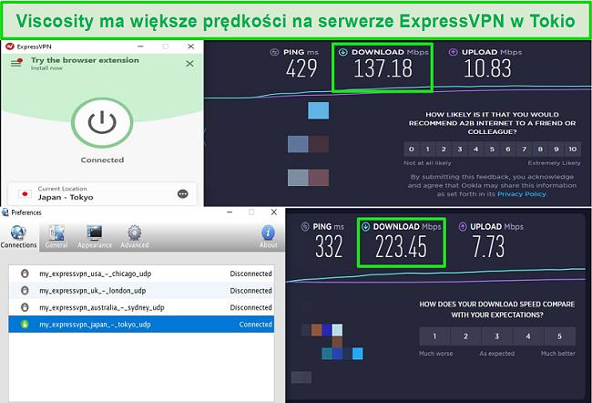 Zrzut ekranu z wynikami testów prędkości podczas połączenia z japońskimi serwerami Express VPN za pośrednictwem Viscosity i ExpressVPN