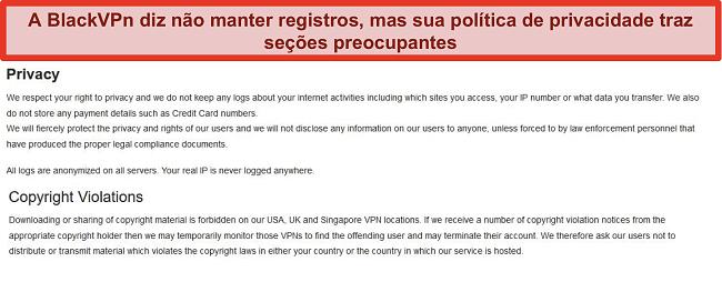 Captura de tela das seções Privacidade e Violações de direitos autorais dos Termos de Serviço do BlackVPN