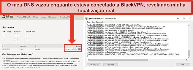 Captura de tela de um teste de vazamento de DNS com falha enquanto o BlackVPN está conectado a um servidor nos EUA