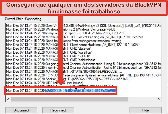 Captura de tela do BlackVPN tentando se conectar a um servidor através do cliente OpenVPN