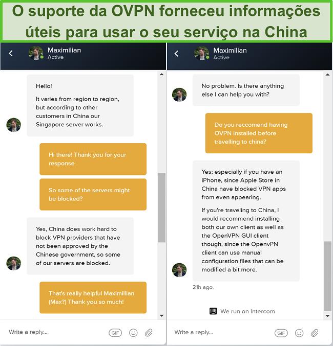 Captura de tela do bate-papo ao vivo com OVPN sobre se os servidores funcionam na China