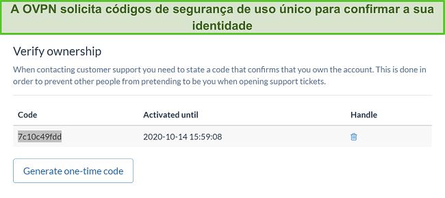 Captura de tela do código único de OVPN para verificar a identidade durante o processo de cancelamento da assinatura