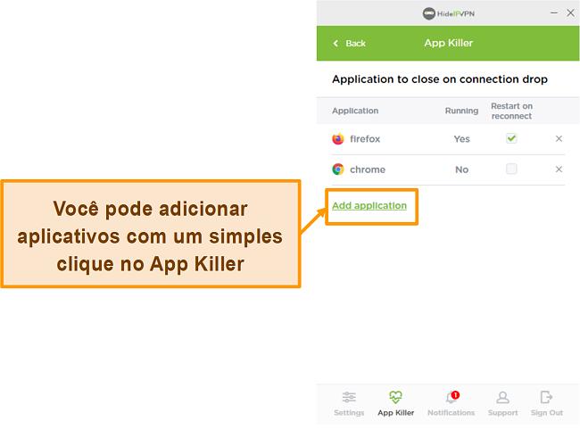 Captura de tela de HideIPVPN Application Killer.