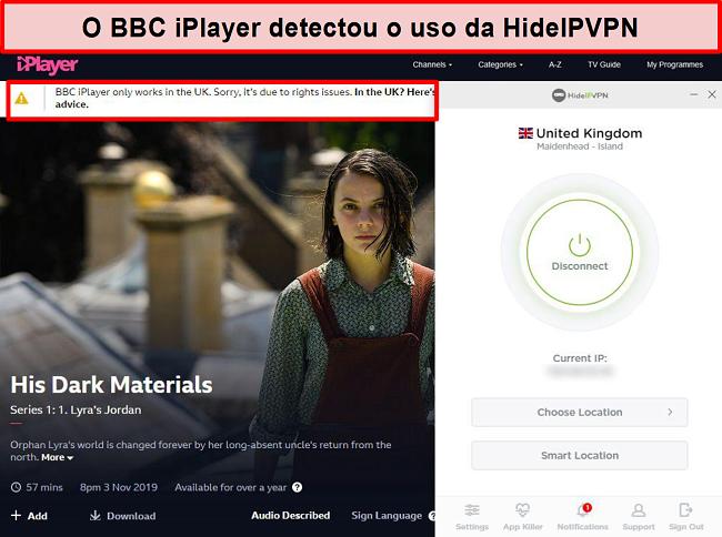 Captura de tela do erro do BBC iPlayer detectando que você não está no Reino Unido.