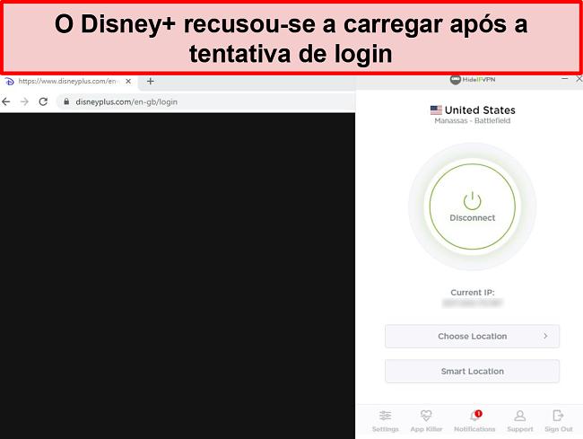 Captura de tela de HideIPVPN falhando ao acessar Disney +.