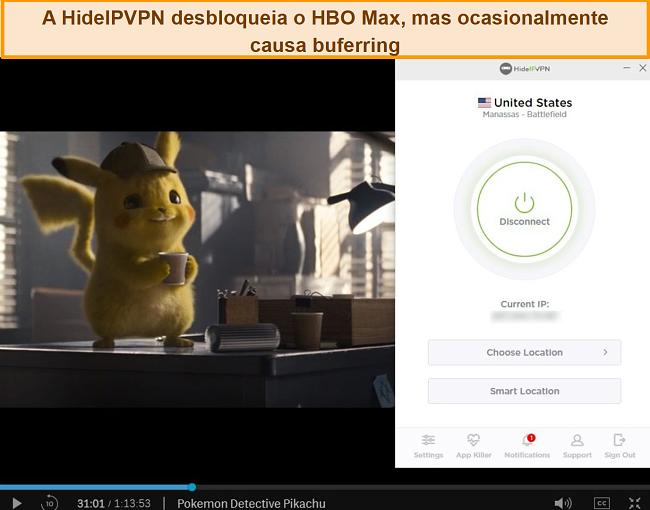 Captura de tela de HideIPVPN desbloqueando HBO Max, transmitindo Pokémon Detetive Pikachu.