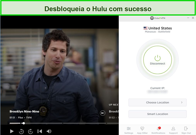 Captura de tela de HideIPVPN desbloqueando Hulu, transmitindo Brooklyn Nine-Nine.