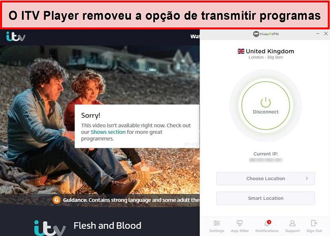 Captura de tela do ITV Player removendo a opção de transmitir shows na conexão HideIPVPN. Em vez disso, afirma que o vídeo não está disponível para reprodução no momento.