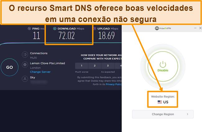 Captura de tela do teste de velocidade do HideIPVPN Smart DNS.