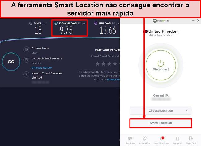 Captura de tela do teste de velocidade usando o Smart Location.