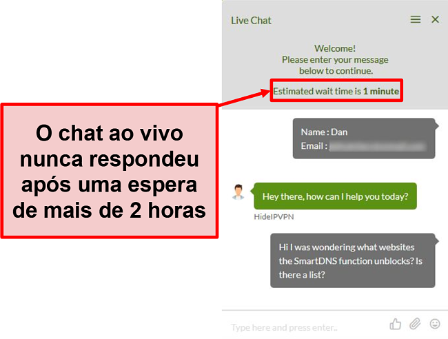 Captura de tela do chat ao vivo do HideIPVPN sem resposta.