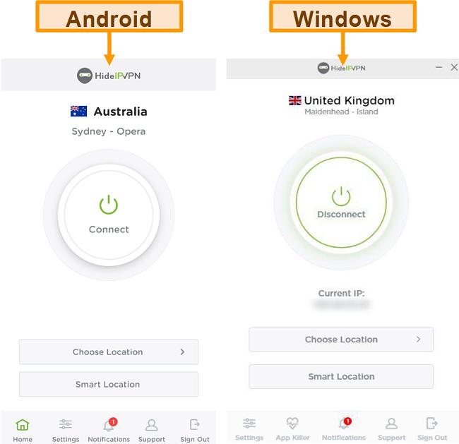 Captura de tela dos aplicativos de desktop e móveis do HideIPVPN.