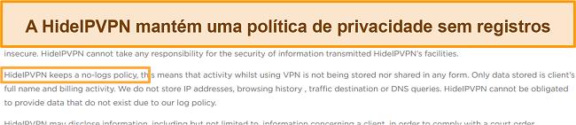 Captura de tela da política de não registro do HideIPVPN.