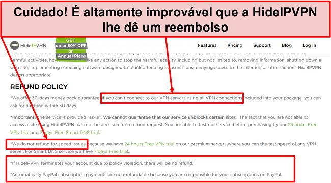 Captura de tela da política de reembolso da HidelVPN