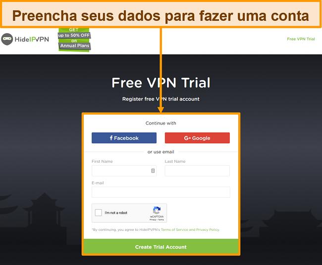 Captura de tela do processo de criação de conta do HideIPVPN.