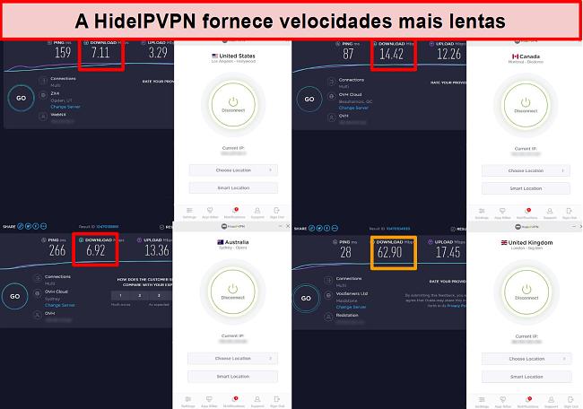 Captura de tela dos testes de velocidade do HideIPVPN em 4 locais de servidor.