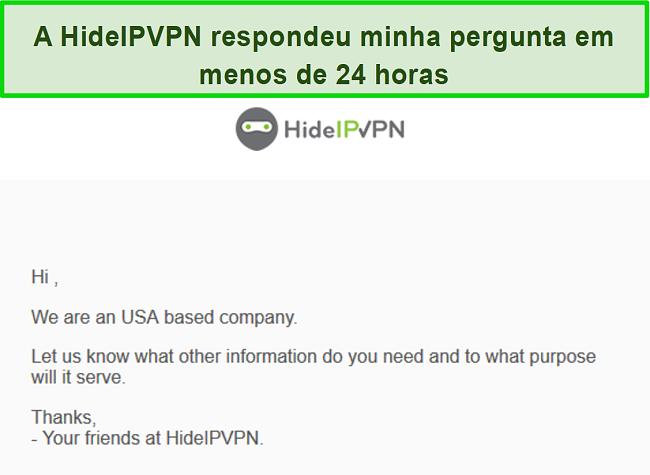 Captura de tela do suporte por e-mail do HideIPVPN.