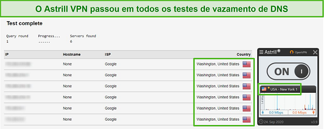 Captura de tela do Astrill VPN passando com sucesso nos testes de vazamento de DNS.