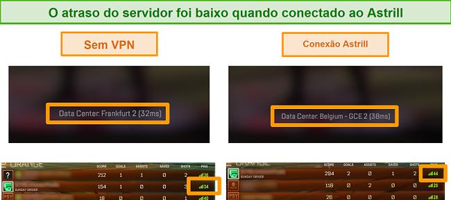 Captura de tela de pings do Apex Legends e Rocket League quando desconectados e conectados a um servidor VPN local Astrill.