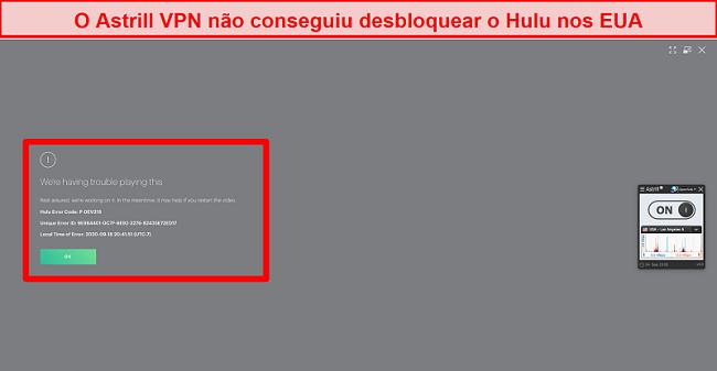 Captura de tela do Astrill VPN conectado a um servidor dos EUA e sendo mostrado um código de erro pelo Hulu US.