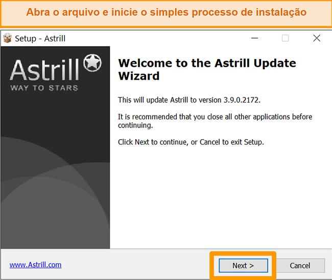 Captura de tela da tela de instalação do Astrill no Windows.