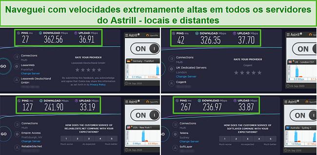 Captura de tela de 4 testes de velocidade com os servidores Astrill de Frankfurt, Londres, Nova York e Sydney.