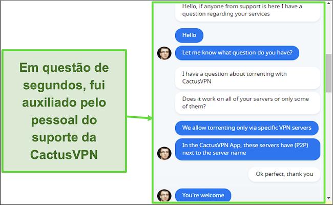 Captura de tela mostrando que o suporte ao cliente é rápido e útil