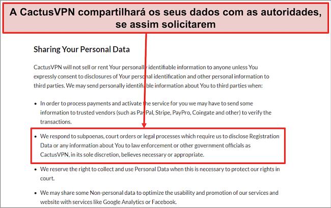 Captura de tela da política de privacidade do CactusVPN que mostra que eles entregarão seus dados