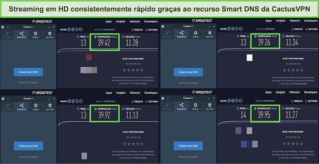 Captura de tela de 4 testes de velocidade enquanto conectado aos servidores DNS inteligentes do CactusVPN
