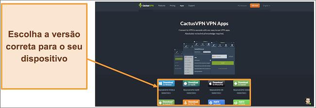 Captura de tela mostrando onde baixar a versão do CactusVPN que você deseja de seu site
