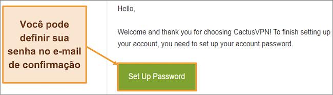 Captura de tela mostrando o e-mail de confirmação do CactusVPN para criar uma senha para sua conta