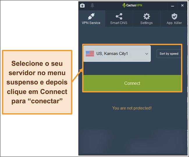 Captura de tela da interface CactusVPN mostrando o menu suspenso de seleção de servidor