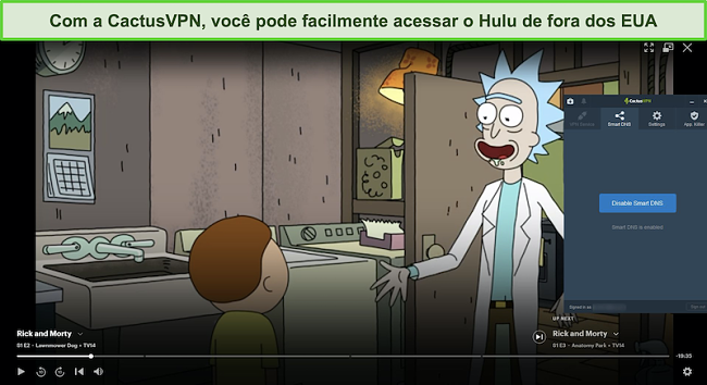 Captura de tela de Rick e Morty transmitindo com sucesso no Hulu com CactusVPN conectado