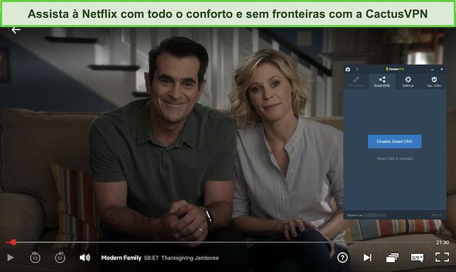 Captura de tela de Modern Family transmitindo com sucesso na Netflix com CactusVPN conectado