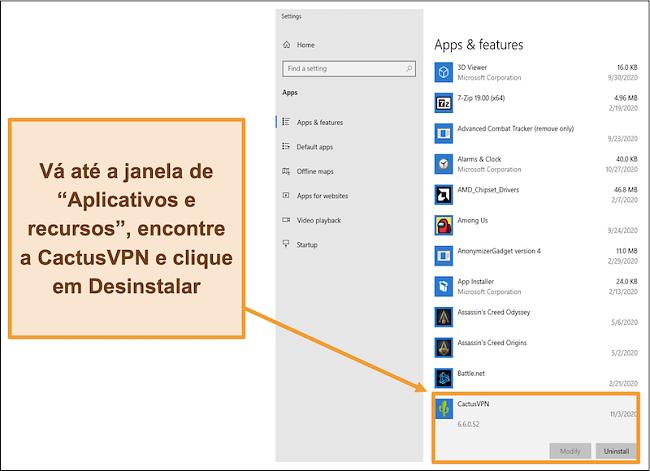 Captura de tela mostrando como iniciar o processo de desinstalação do CactusVPN no menu Aplicativos e recursos