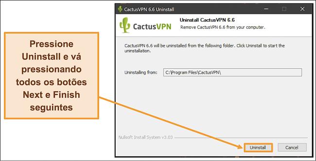 Captura de tela mostrando como finalizar a desinstalação do CactusVPN do assistente de desinstalação