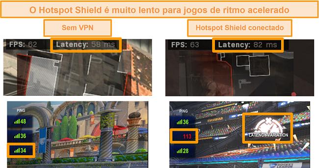 Captura de tela de Call of Duty: Modern Warfare e Rocket League testado para aumento de latência quando conectado ao Hotspot Shield VPN no PC.