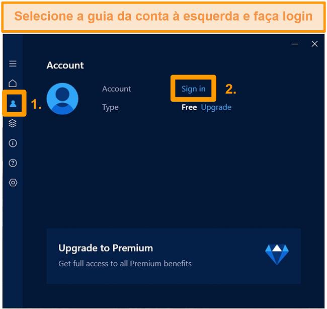 Captura de tela da tela de login da conta do aplicativo Hotspot Shield do Windows.