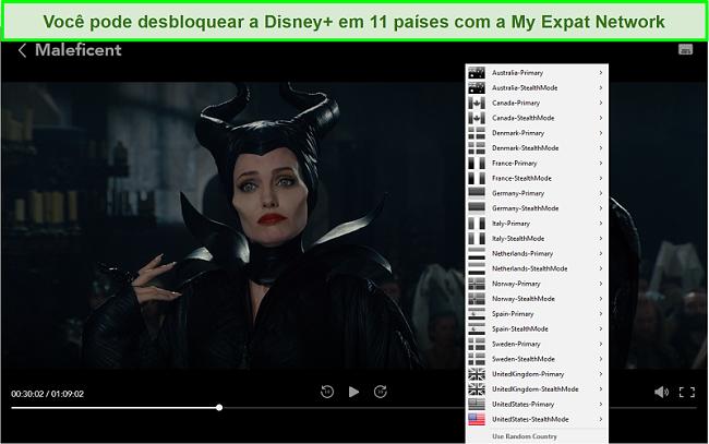 Captura de tela de My Expat Network desbloqueando Disney + US