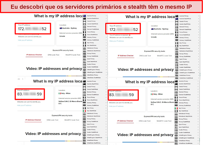 Captura de tela dos servidores primário e stealth da Minha Rede Expat fornecendo o mesmo endereço IP
