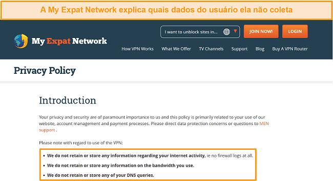 Captura de tela da política de privacidade da My Expat Network