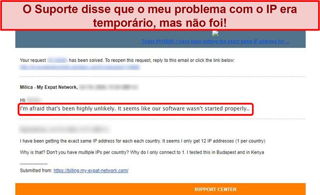 Captura de tela da resposta de e-mail do My Expat Network fornecendo uma explicação para um problema de endereço IP