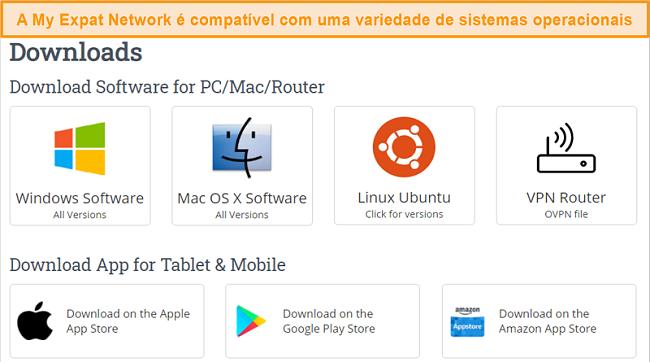 Captura de tela da escolha de plataformas suportadas por My Expat Network