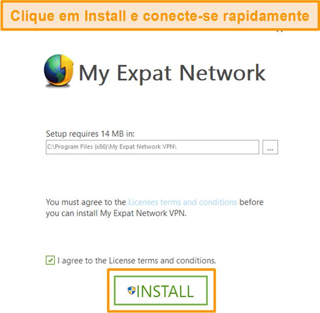 Captura de tela da última etapa da instalação do My Expat Network