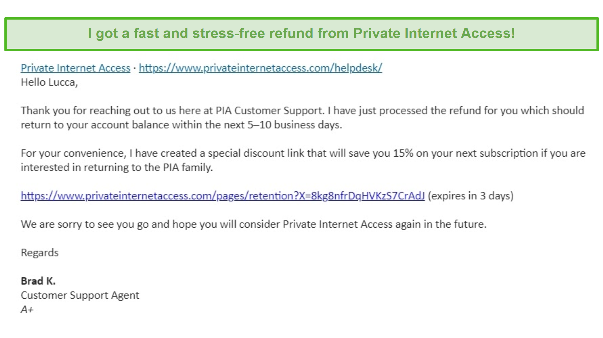 Screenshot of an email from Private Internet Access, having a refund request approved under the 30-day money-back guarantee