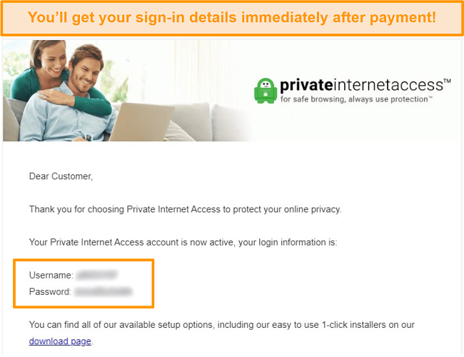 Screenshot of the Private Internet Access sign up confirmation email with login details included