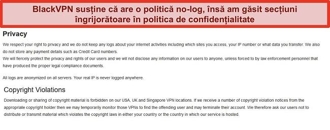 Captură de ecran a secțiunilor privind confidențialitatea și încălcarea drepturilor de autor din Termenii și condițiile BlackVPN