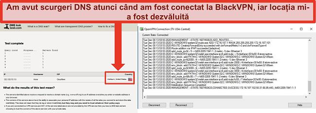 Captură de ecran a unui test de scurgere DNS eșuat în timp ce BlackVPN este conectat la un server din SUA