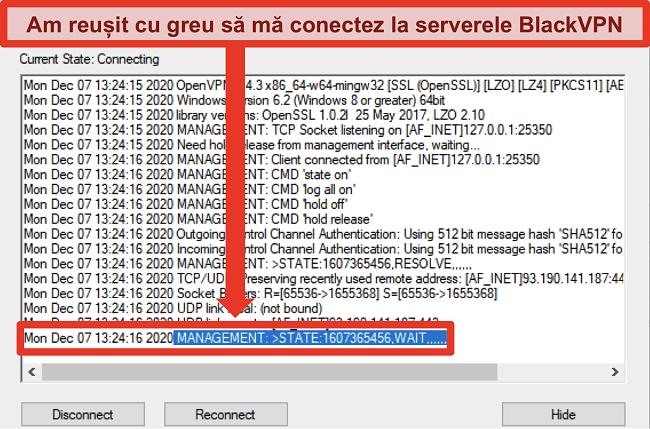 Captură de ecran a BlackVPN care încearcă să se conecteze la un server prin intermediul clientului OpenVPN